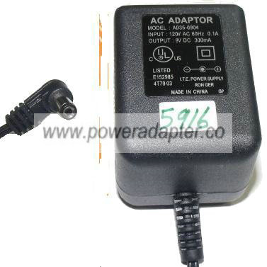 AD35-0904 AC ADAPTER 9V 300mA PLUG IN POWER SUPPLY