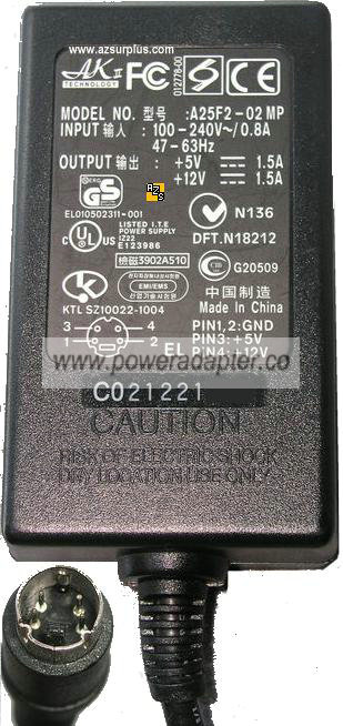 AKII Technology A25F2-02 MP AC adapter 5Vdc 12Vdc 1.5A 25W Power