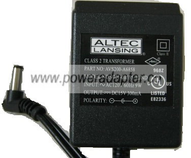 ALTEC LANSING 9701-00535-1UND AC ADAPTER 15V DC 300mA -( )- 2x5.