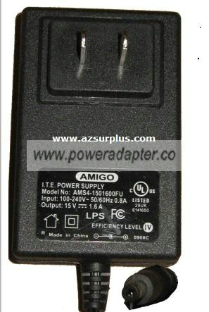 AMIGO AMS4-1501600FU AC ADAPTER 15VDC 1.6A -( ) 1.7x4.7mm 100-24