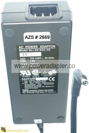 APS AD-850-06 AC ADAPTER 12VDC 5A -( )- 2.5x5.5mm 100-240Vac 50W