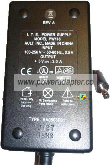 AULT PW118 AC ADAPTER 5V 3A I.T.E POWER SUPPLY