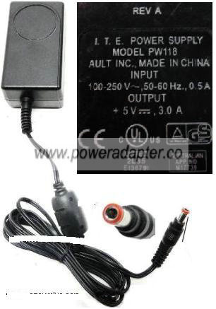 AULT PW118 AC ADAPTER 5V 3A POWER SUPPLY TYPE RA0503F01 REV.A