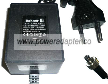 BAKNOR 66DT-12-2000E AC DC ADAPTER 12V 2A EUROPEAN POWER SUPPLY
