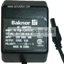 BAKNOR BK 1250-A9025E3P AC DC ADAPTER 12V 0.5A 10W POWER SUPPLY