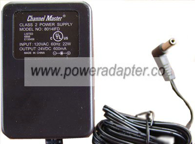 CHANNEL MASTER 8014IFD AC ADAPTER DC 24V 600mA CLASS 2 POWER