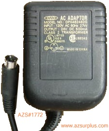 CHD DPX482462G AC ADAPTER 24VDC 0.5A 3Pin 9mm Mini din POWER SUP