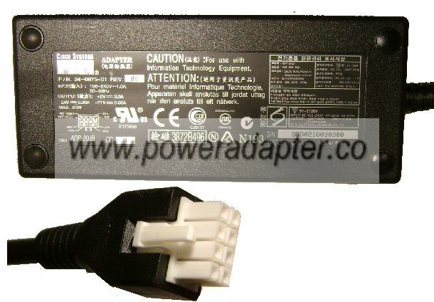 CISCO ADP-20JB AC ADAPTER 5Vdc 3A -24V -71V 0.06A 8Pin Molex POW
