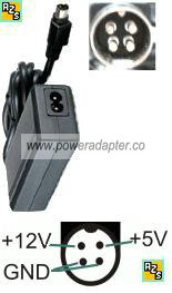 Channel Well Technology PAG0342 AC Adapter 5V 12V 2A 4pins power