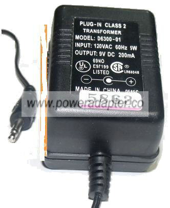 D6300-01 AC ADAPTER 9V DC 200mA PLUG IN CLASS 2 TRANSFORMER