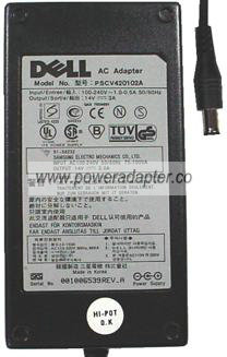 DELL PSCV420102A AC ADAPTER 14V 3A POWER SUPPLY FOR MONITOR