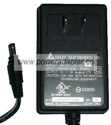 DELTA ELECTRONICS, INC. ADP-15GH B AC DC ADAPTER 5V 3A POWER SUP