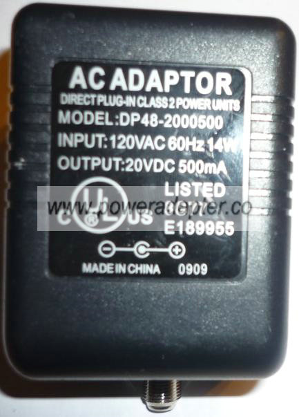 AC Adaptor DP48-2000500 20VDC 500mA POWER SUPPLY Adapter satteli