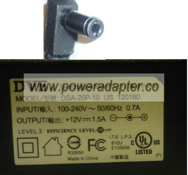 DVE DSA-20P-10 US AC ADAPTER 12V 1.5A SWITCHING Wallmount I.T.E