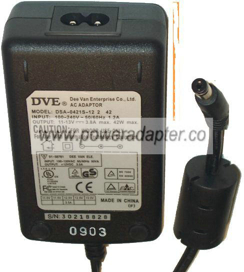 DVE DSA-0421S-12 2 42 AC DC ADAPTER 11-13V 3.8A 42W POWER SUPPLY