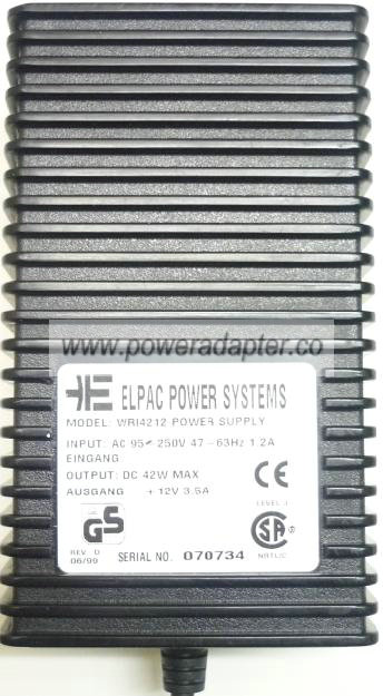 ELPAC WRI4212 AC ADAPTER 12VDC 3.5A 42W Switching POWER SUPPLY