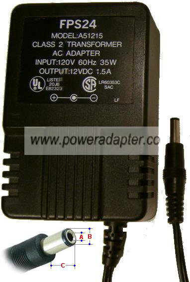 FPS24 A51215 AC ADAPTER 12VDC 1.5A Power Supply Class 2 Transfo