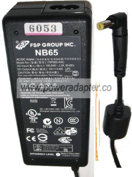 FSP NB65 FSP065-AAC AC ADAPTER 19V DC 3.42A IBM LAPTOP POWER SUP