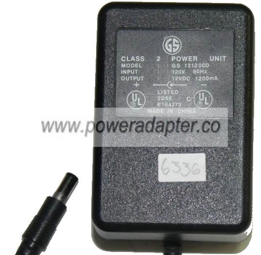GS GS 121200D AC ADAPTER 12VDC 1200mA NEW 2.5 x 5.4 x 12mm