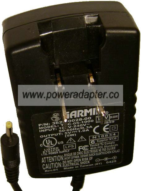 GARMIN 362-00028-00 AC DC ADAPTER 5V 1A TRC-05-1000 CHARGER 2.3m