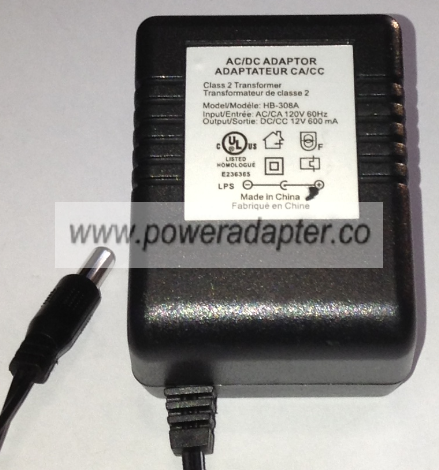 HB-308A AC ADAPTER 12VDC 600mA NEW 2x5.4x13mm Round Barrel -( )