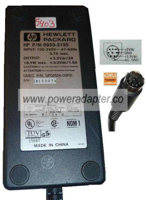 HP 0950-3195 AC ADAPTER 5VDC 3A 3.3VDC 1.6A 8Pin POWER SUPPLY