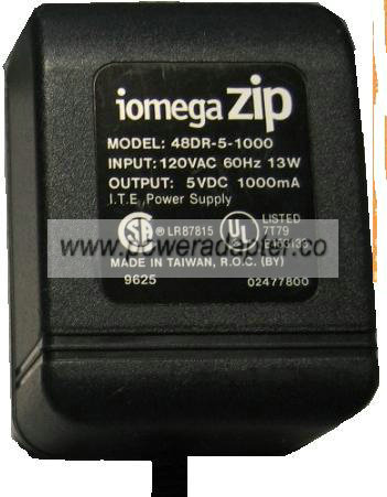 IOMEGA ZIP 48DR-5-1000 AC DC ADAPTER 5VDC 1000MA SWITCHING POWER