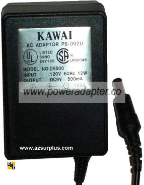 KAWAI PS-092U AC ADAPTER 9VDC 500mA 12W LR68048 POWER SUPPLY