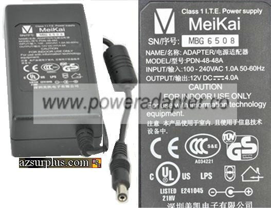 MEIKAI PDN-48-48A AC ADAPTER 12V 4A CLASS 1 ITE POWER SUPPLY