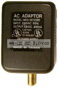 mkd-3512200 AC ADAPTER 12VDC 200mA -( )- RF 1x9.4mm New 120VAC P