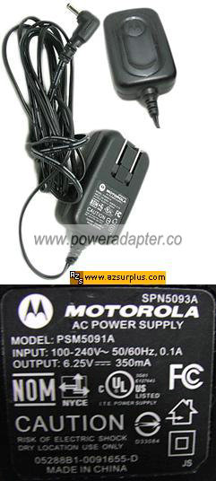 Motorola PSM5091A AC Adapter 6.25VDC 350mA Power supply