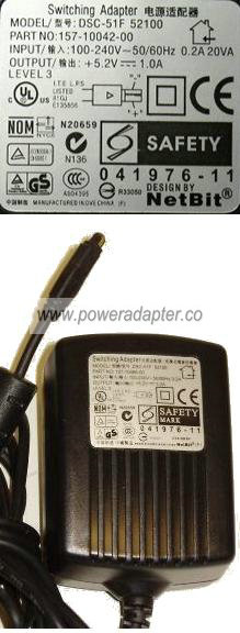 NETBIT DSC-51F-52100 AC ADAPTER 5.2VDC 1A Palm SWITCHING POWER S