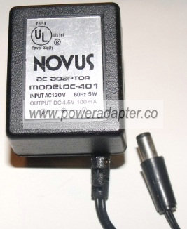 NOVUS DC-401 AC ADAPTER 4.5VDC 100MA NEW 2.5 x 5.5 x 9.5mm