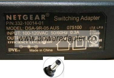 NETGEAR DSA-9R-05 AUS 075100 AC ADAPTER 7.5V 1A SWITCHING POWER