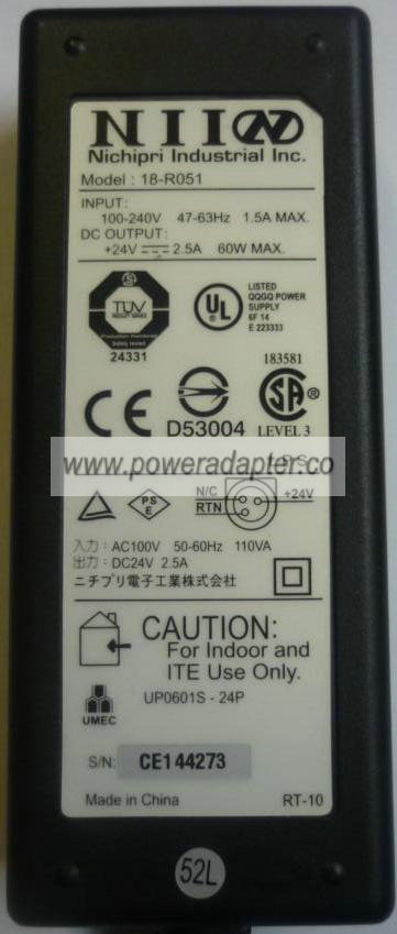 Nichipri NII 18-R051 AC Adapter 24V 2A Epson thermal receipt POS