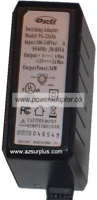 OPTI PA-226SA AC ADAPTER 12V DC 3A 36W NEW 2.2x5.4x11mm - Click Image to Close