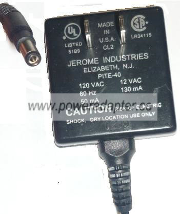 PACE PITE-40 AC ADAPTER 12VAC 130mA PLUG IN POWER SUPPLY