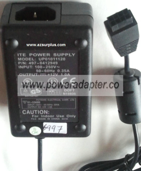 POTRANS UP01011120 AC ADAPTER 12VDC 1A POWER SUPPLY