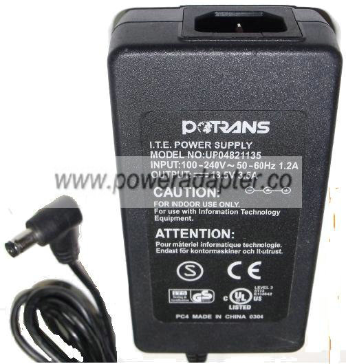 POTRANS UP04821135 AC ADAPTER 13.5V 3.5A POWER SUPPLY