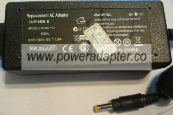 SADP-65KB B AC SWITCHING ADAPTER 19V 1.58A -( )- 1.8x5mm Used 10