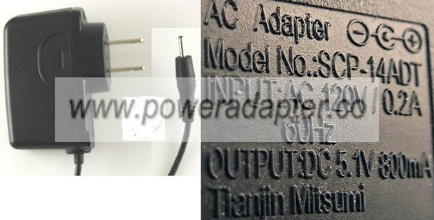 SANYO SCP-14ADT AC ADAPTER 5.1V 800mA CELLPHONE POWER SUPPLY