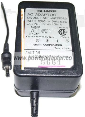 SHARP RADP-A012SDE0 AC ADAPTER 6V 400mA PLUG IN POWER SUPPLY
