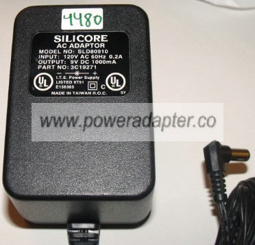 SILICORE SLD80910 AC ADAPTER 9VDC 1000MA NEW 2.5 x 5.5 x 10mm