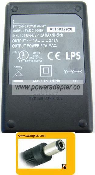 SUNNY SYS2011-6019 AC ADAPTER 19V 3.15A SWITCHING POWER SUPPLY