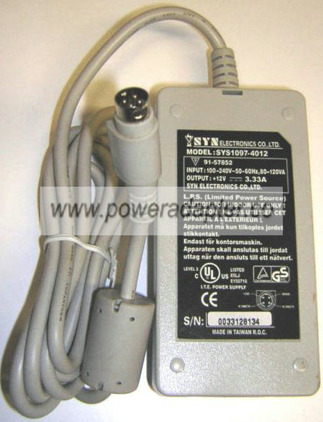 SYN ELECTRONICS SYS1097-4012 AC ADAPTER 12V 3.33A POWER SUPPLY