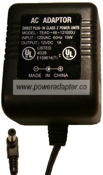 TEAD-48-121000U AC DC ADAPTER 12V DC 1A POWER SUPPLY TECHNICS Sc