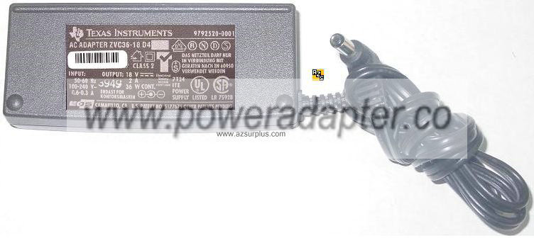 TEXAS INSTRUMENTS ZVC36-18 D4 AC ADAPTER 18VDC 2A 36W -( )- for