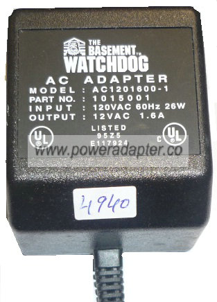 The Basement Watchdog AC1201600-1 AC ADAPTER 12VAC 1.6A 1015001