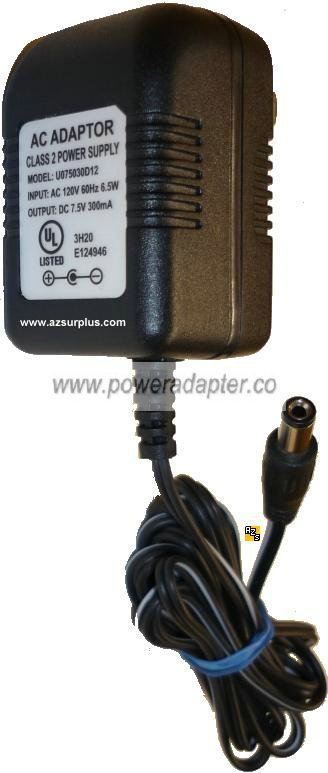 Class 2 Power Supply U075030D12 AC Adaptor 7.5VDC 300mA ADAPTER