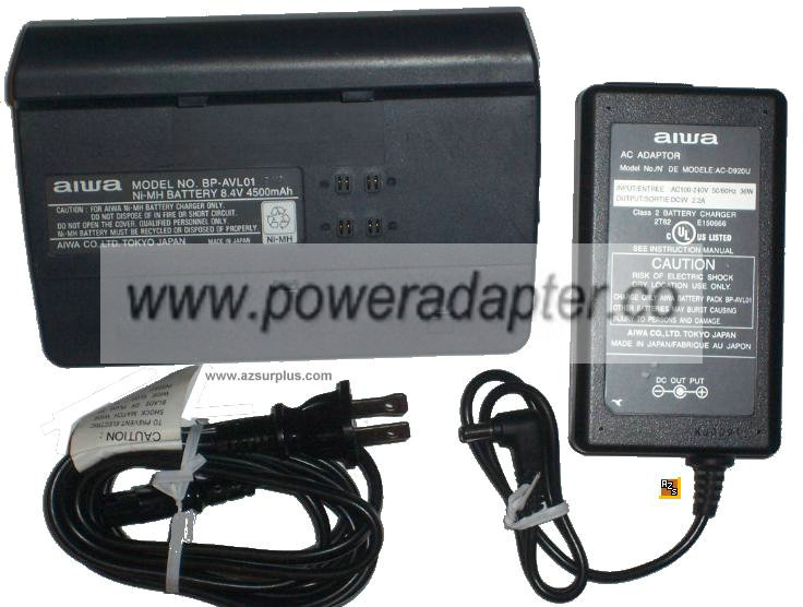 AIWA BP-AVL01 NI-MH 8.4V 4500MAH BETTERY CHARGER WITH ADAPTER